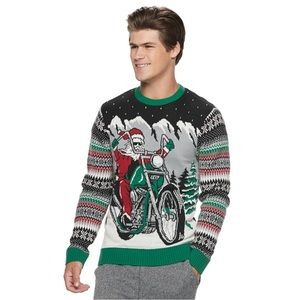 Motorcycle Santa Light-Up Ugly Christmas Sweater